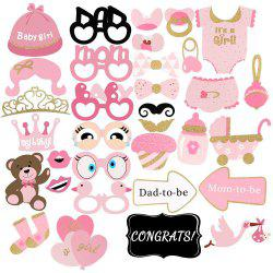 33 Pieces Holiday Party Stuff Golden Pink Baby Shower Decoration Photo Props -