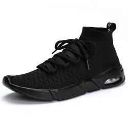 Men'S Air Cushion Shock Absorption Breathable Flying Mesh Sports Running Shoes -