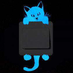 Cute Cat Luminous Light Switch Wall Sticker -