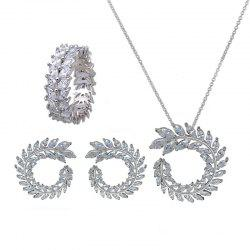 Whole Set Olive Branch Shape Design Elegant Necklace Studs Ring Set -