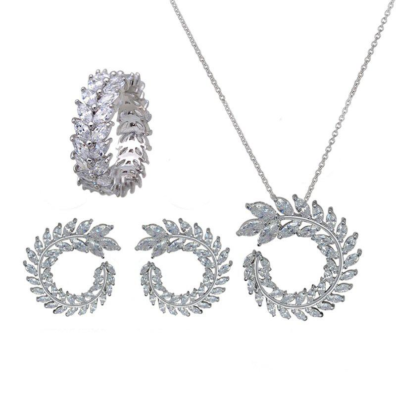 Online Whole Set Olive Branch Shape Design Elegant Necklace Studs Ring Set