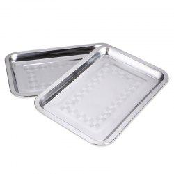Stainless Steel Rectangular Plate Barbecue Grilled Fish Tray BBQ Food Container -