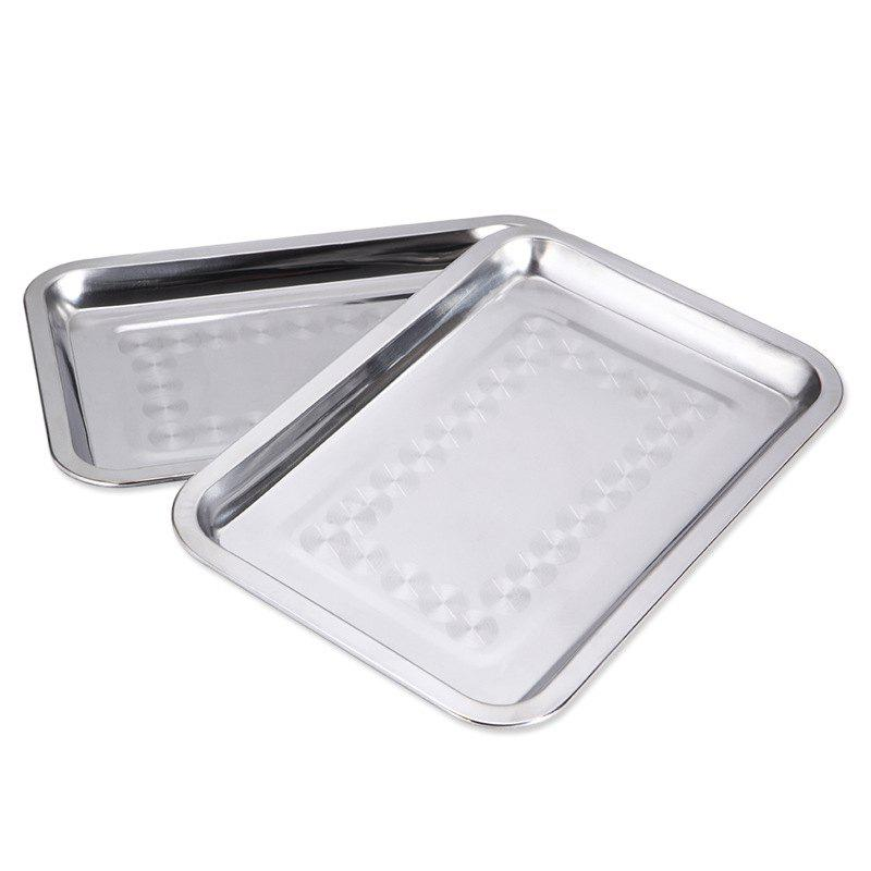 Outfits Stainless Steel Rectangular Plate Barbecue Grilled Fish Tray BBQ Food Container