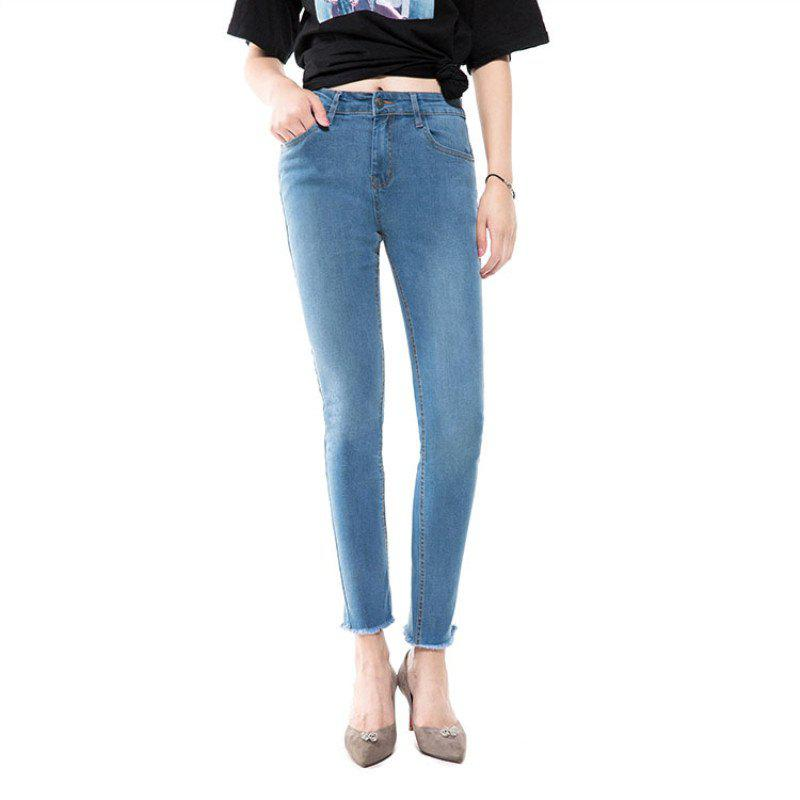 Outfits Blue Jeans Women  Nine Points Trousers Spring and Autumn