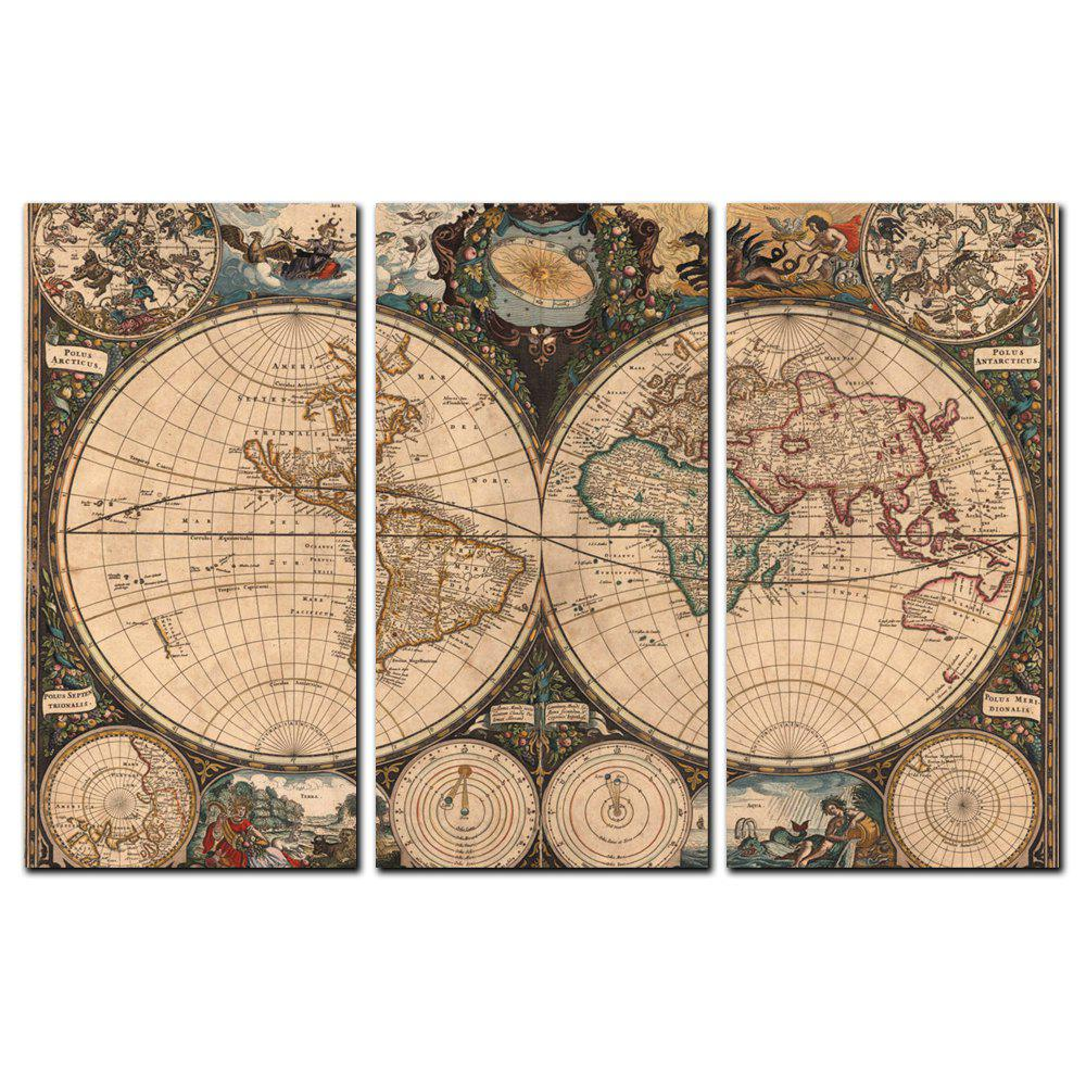 Yishiyuan 3 Pcs Hd Inkjet Paints Abstract Bronze World Map Decorative Painting