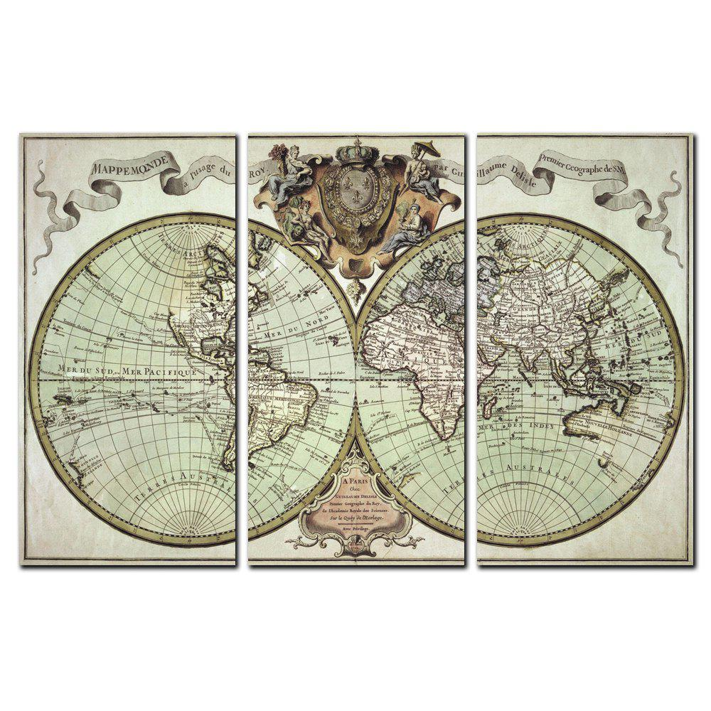 Yishiyuan 3 Pcs Hd Inkjet Paints Abstract World Map Decorative Painting