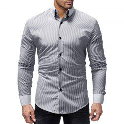New Striped Contrast Collar Men's Casual Slim Long Sleeve Shirt -