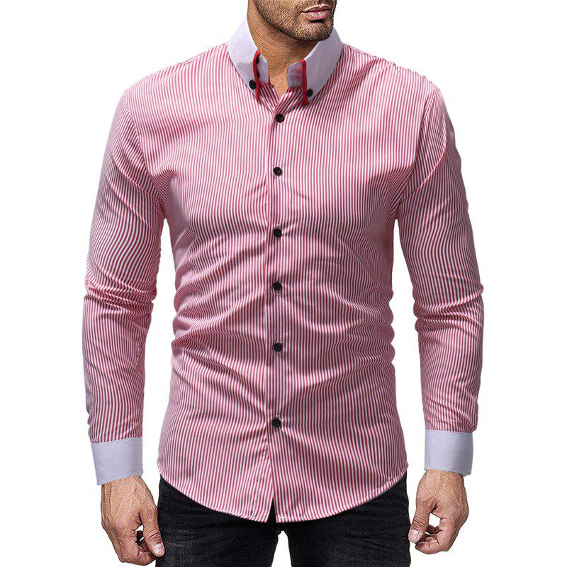 Outfits New Striped Contrast Collar Men's Casual Slim Long Sleeve Shirt