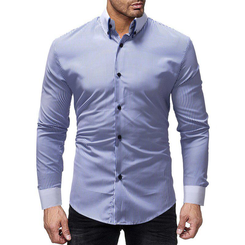 Outfit New Striped Contrast Collar Men's Casual Slim Long Sleeve Shirt