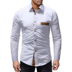 Winter Pocket Color Matching Men's Casual Slim Long-Sleeved Shirt -