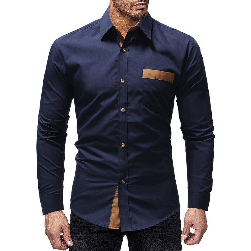 Unique Winter Pocket Color Matching Men's Casual Slim Long-Sleeved Shirt