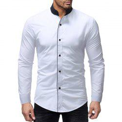 New Contrast Stand Collar Men's Casual Slim Long Sleeve Plain Shirt -