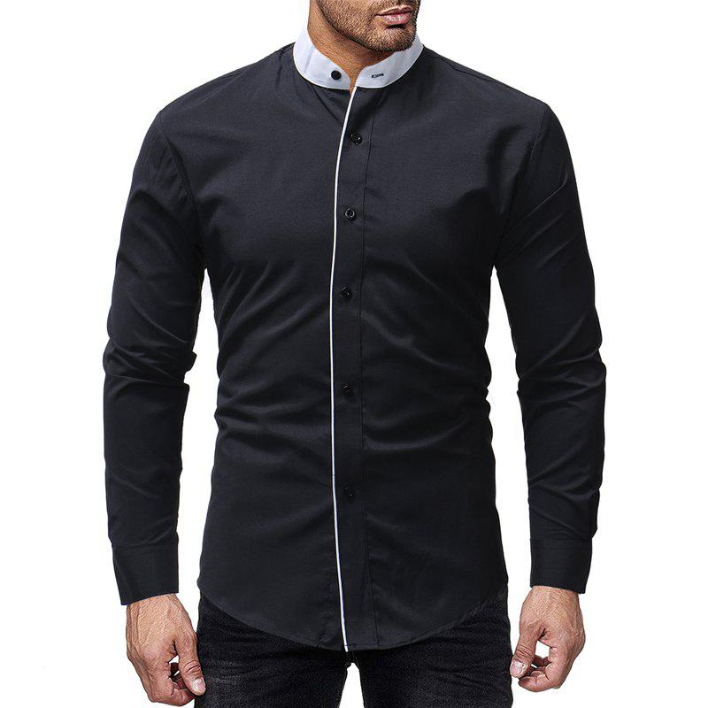 New New Contrast Stand Collar Men's Casual Slim Long Sleeve Plain Shirt
