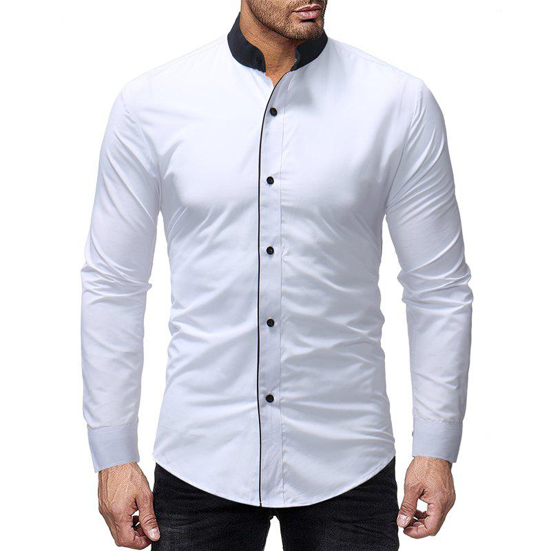 Online New Contrast Stand Collar Men's Casual Slim Long Sleeve Plain Shirt