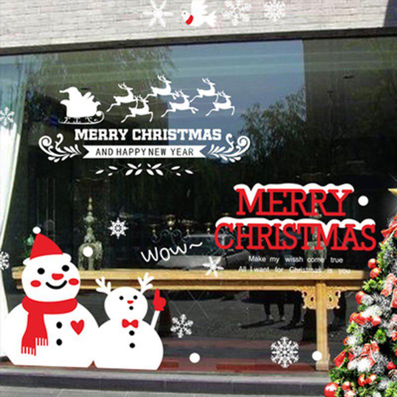 Outfits Christmas Commodity Snowman Wall Sticker Window Glass Background