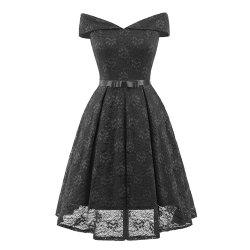 A Neck Bow Lace Sexy Dress -