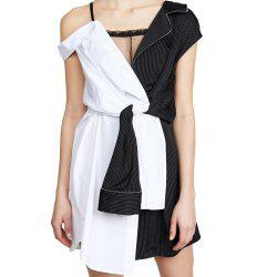 Fashion Personality Color Matching Suspenders Asymmetrical Dress -