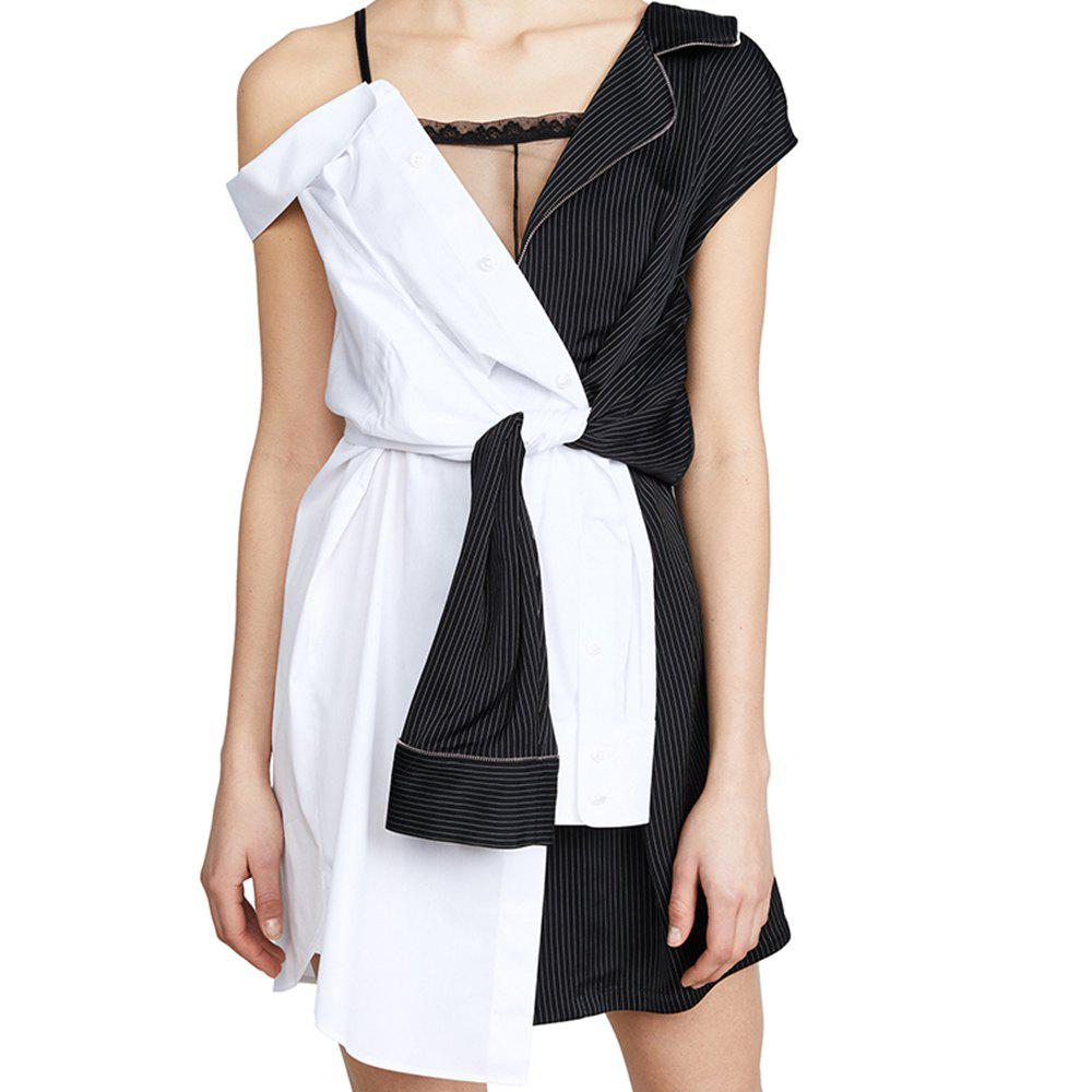 Shops Fashion Personality Color Matching Suspenders Asymmetrical Dress
