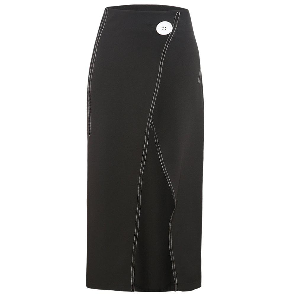Outfit Stylish Simple Hit Line Trim Half Open Skirt