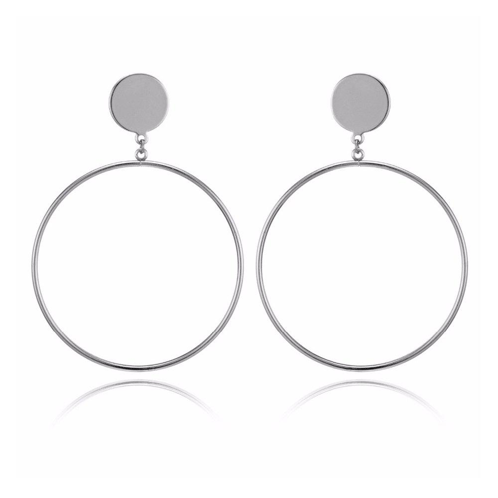 44809c722d2e21 35% OFF] Silver/Gold Color Long Hollow Big Round Earrings | Rosegal