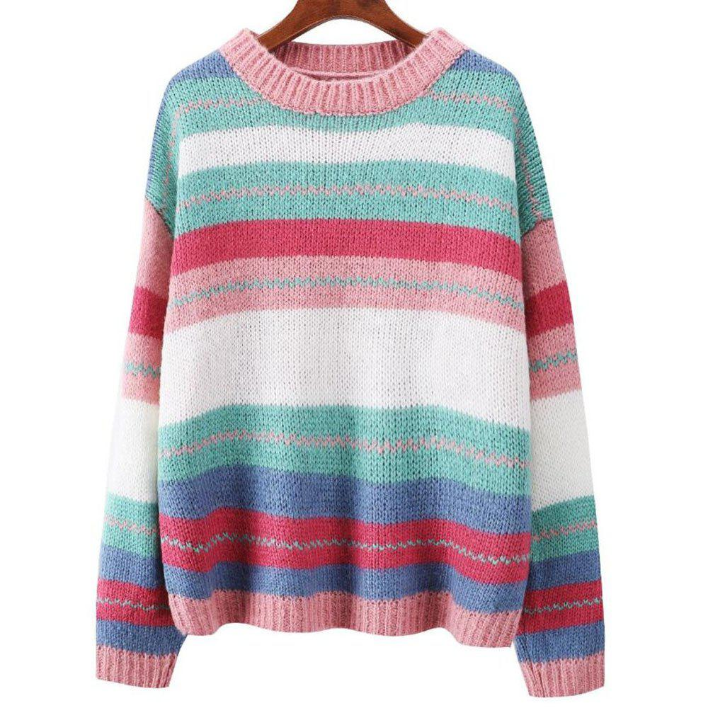 Chic Women's Long Sleeve Loose Sweater Colour Stripe