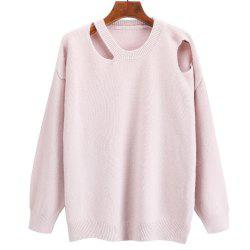 Women's Round Collar Long Sleeve Leisure Sweater -