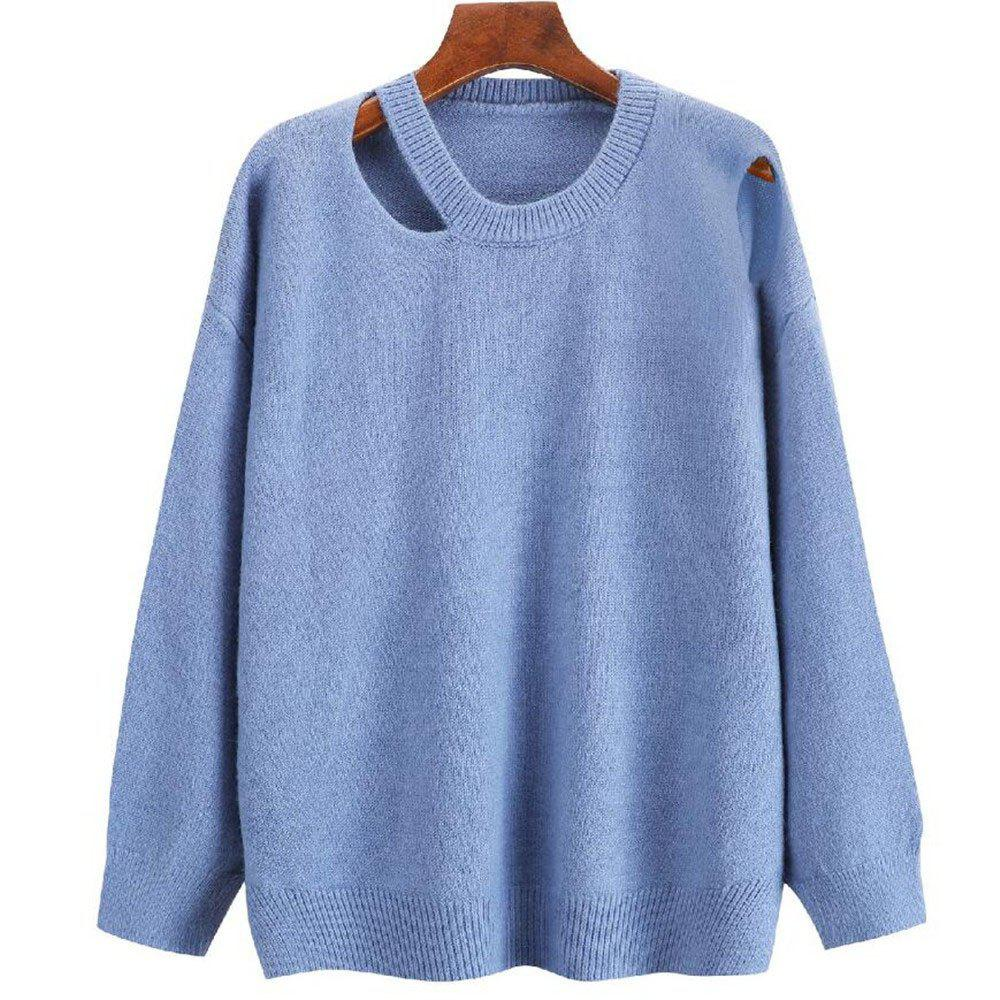 Hot Women's Round Collar Long Sleeve Leisure Sweater
