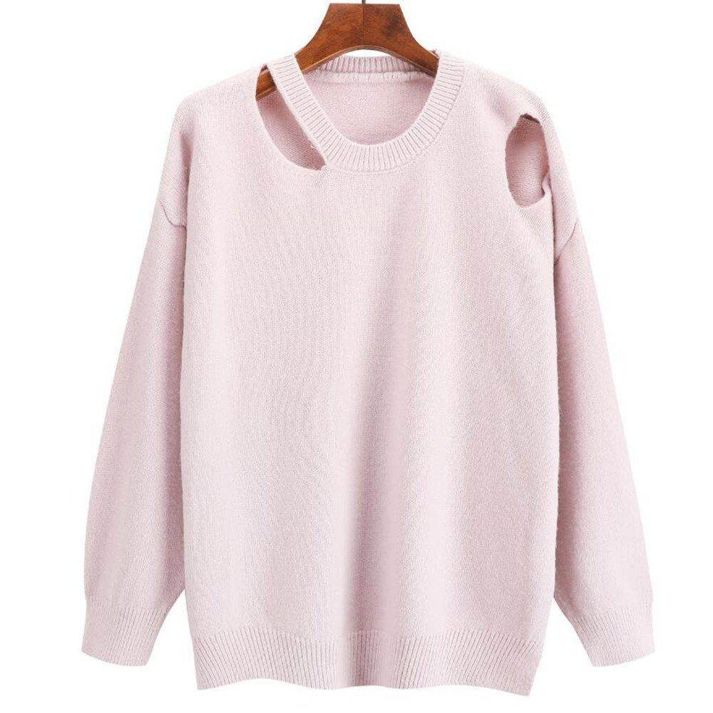 Cheap Women's Round Collar Long Sleeve Leisure Sweater