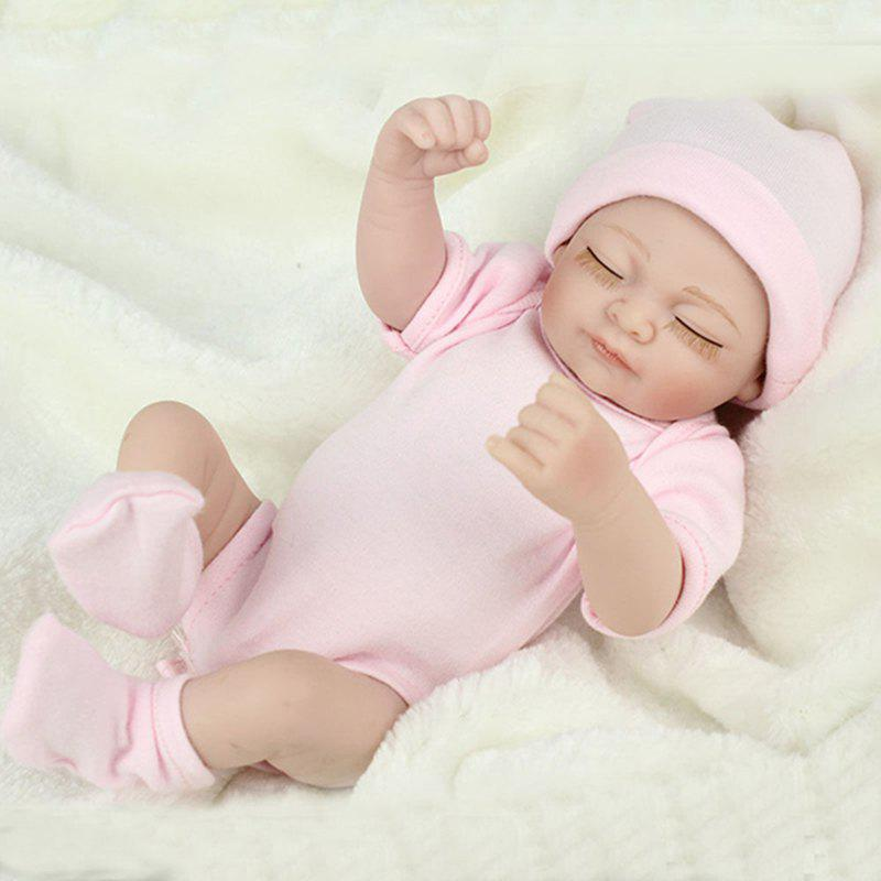 Мини-розовый 10inch Reborn Baby Dolls Full Silicone Baby Doll Body