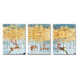 DYC 3PCS Abstract Woods Wild Deer Print Art -