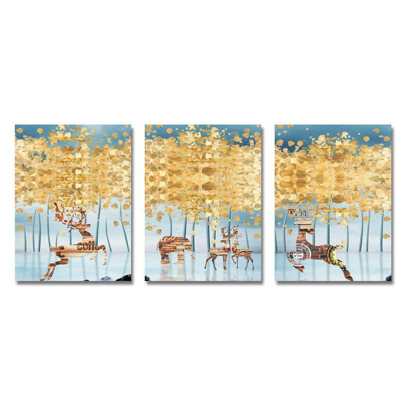 Hot DYC 3PCS Abstract Woods Wild Deer Print Art