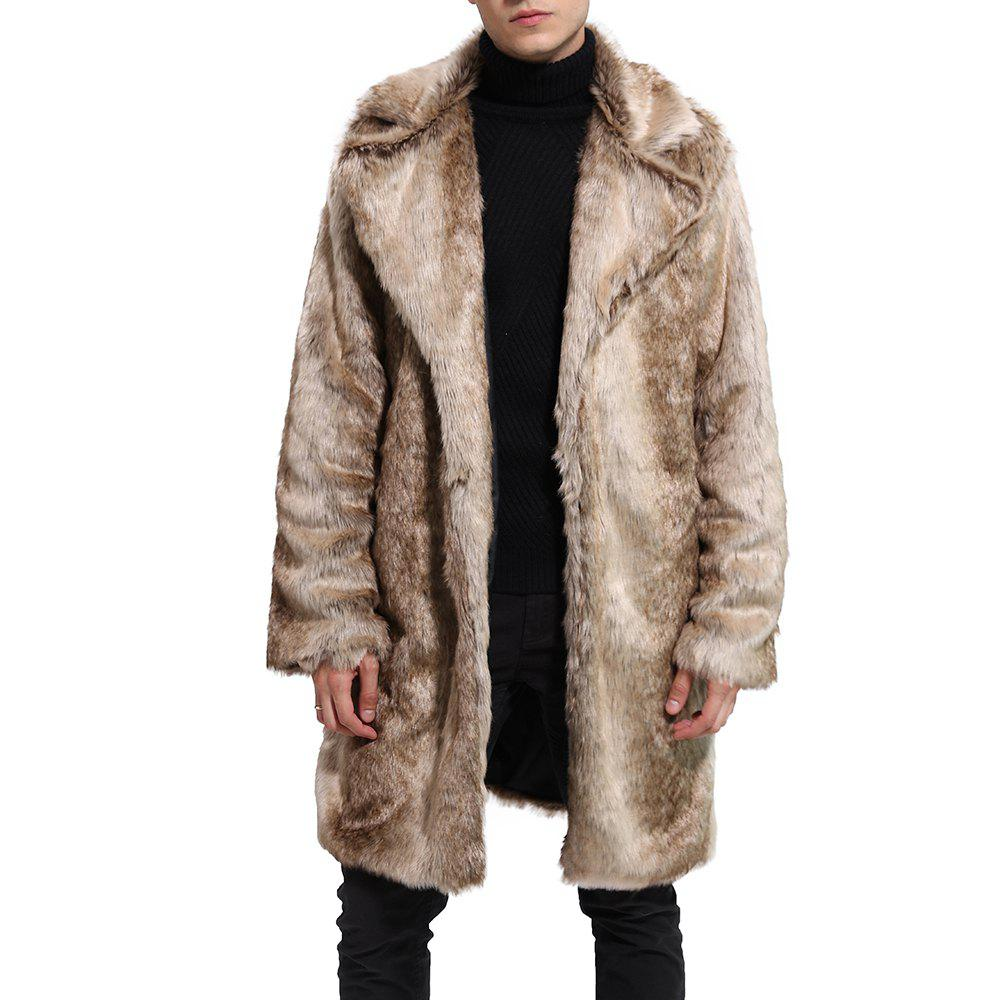 Discount Men Faux Fur Coat Gradient Long Sleeve Oversized Collar Winter Coat