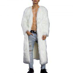 Men's Faux Fur Coat V Neck Long Sleeve Long Winter Overcoat -