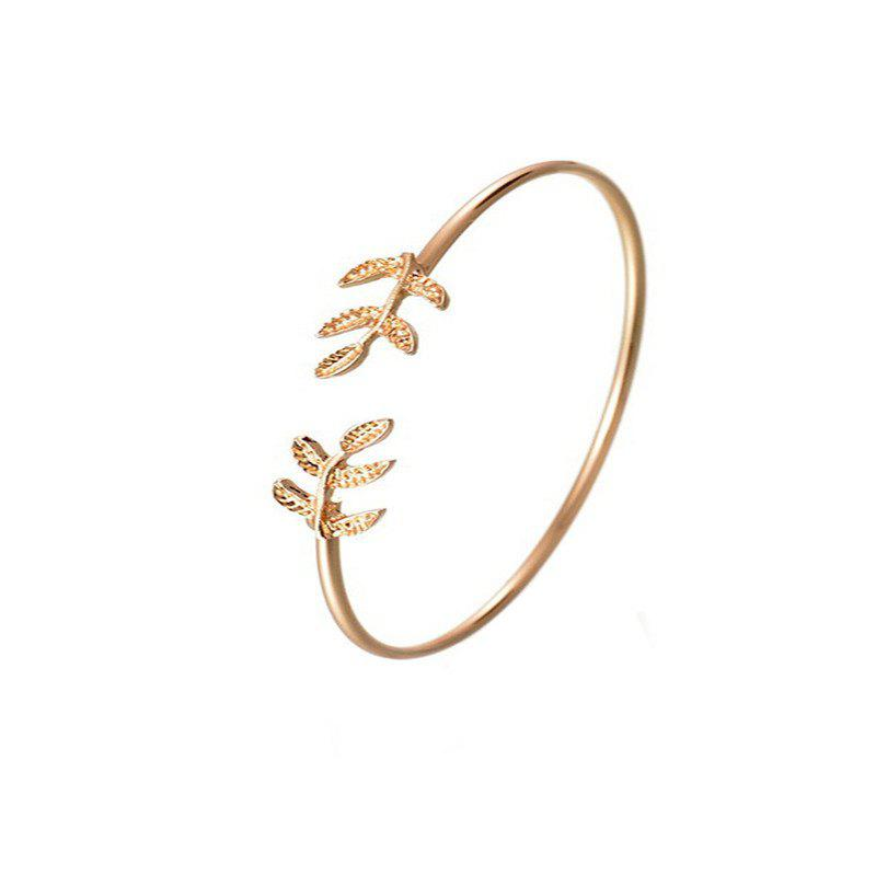 Hot Lady Elegance Simplicity Wind Leaf Modeling Alloy Open Bracelet