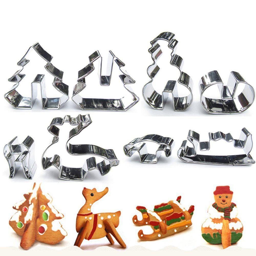 3D Christmas Three-Dimensional Cookie stainless Steel Mold 8 pcs