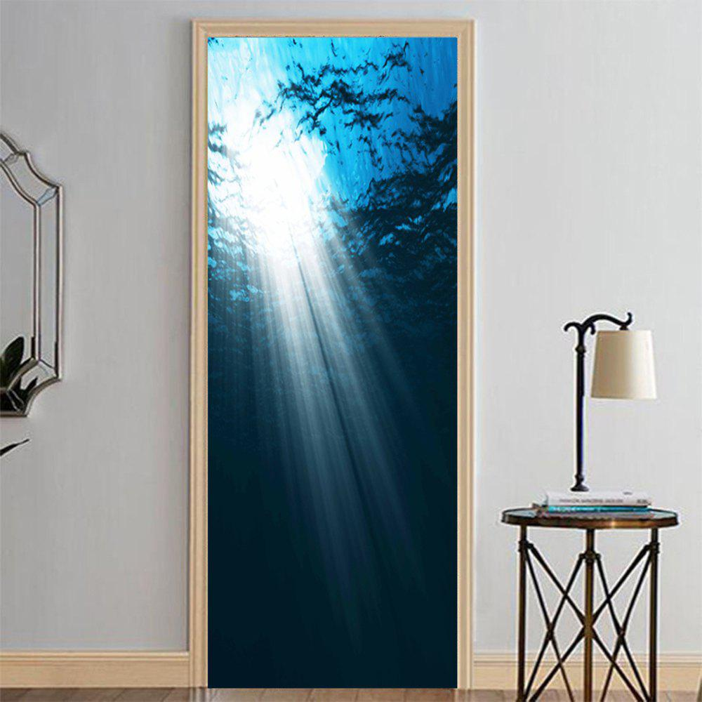 Trendy MailingArt 3D HD Canvas Print Door Wall Sticker Mural Home Decor Blue Ocean Cave