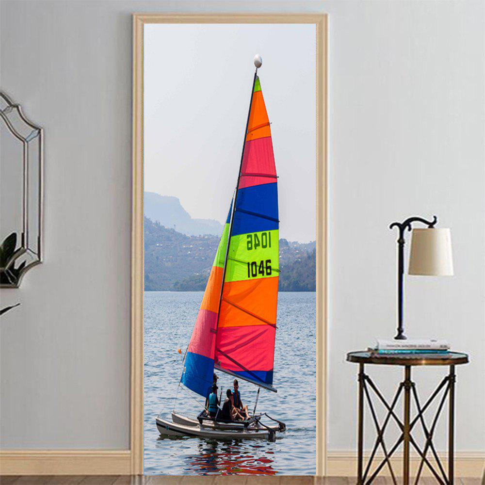 Outfit MailingArt 3D HD Canvas Print Door Wall Sticker Mural Home Decor Color Sailboat