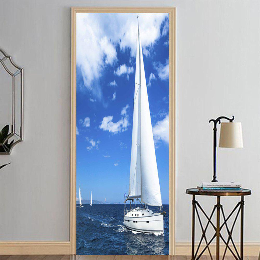 Chic MailingArt 3D HD Canvas Print Door Wall Sticker Mural Home Decor White Sailboat