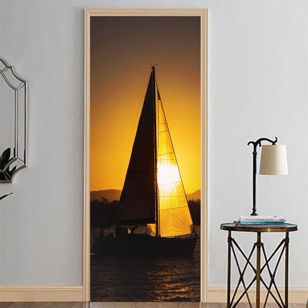 Unique MailingArt 3D HD Canvas Print Door Wall Sticker Mural Home Decor Dark Sailboat