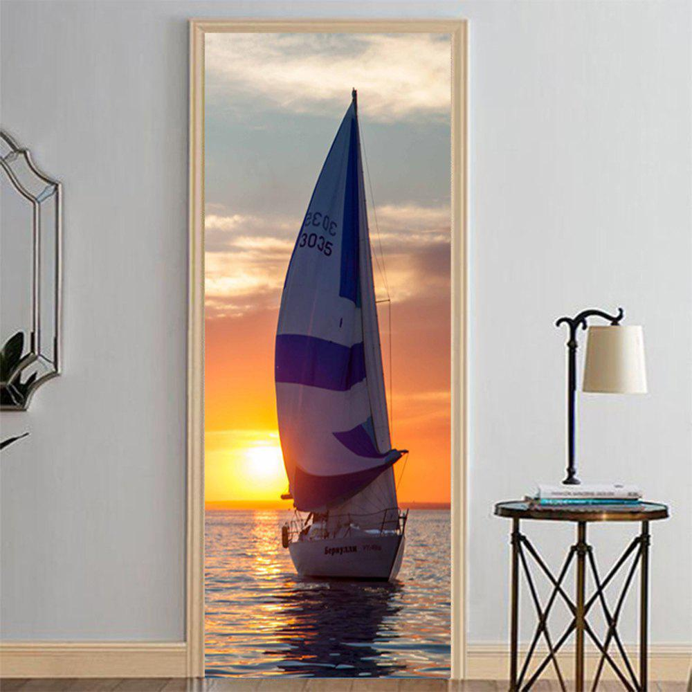 Latest MailingArt 3D HD Canvas Print Door Wall Sticker Mural Home Decor Peace Sailboat
