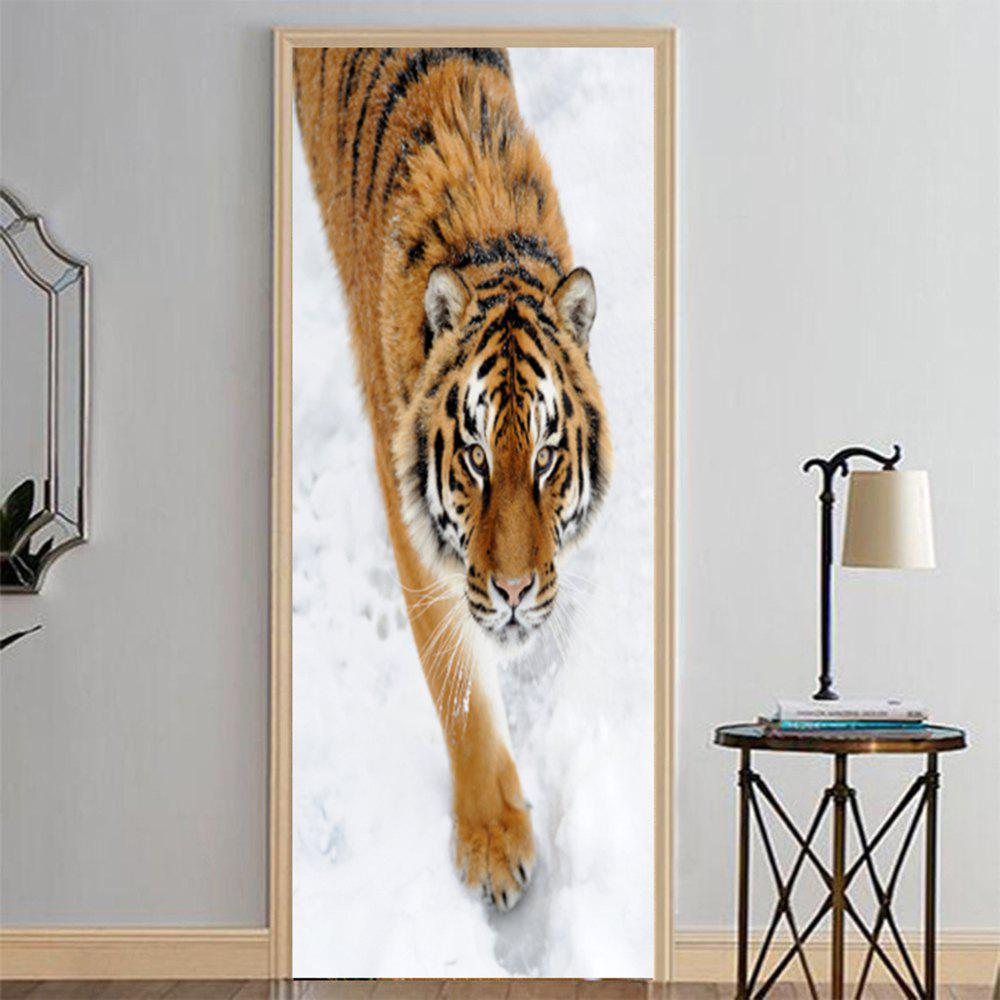 Discount MailingArt 3D HD Canvas Print Door Wall Sticker Mural Home Decor Tiger