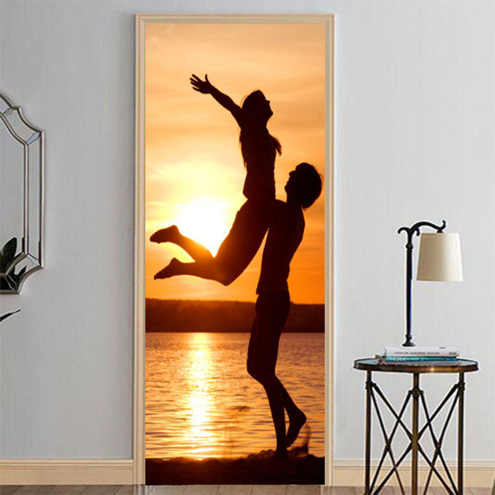 Chic MailingArt 3D HD Canvas Print Door Wall Sticker Mural Home Decor Lover In Dark