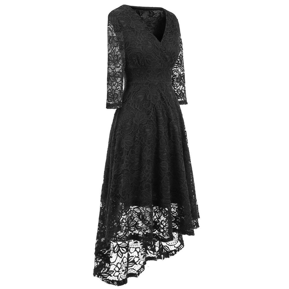 Best High End Lace V Collar Slim Irregular Long Dress
