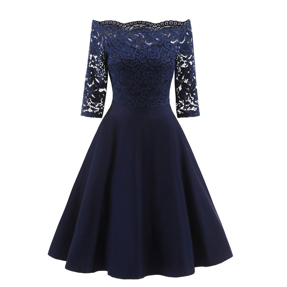 Fashion Rey Lace Seven Point Sleeve Dress