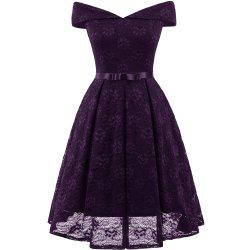 Lady'S Lace Dress with Bow Tie -