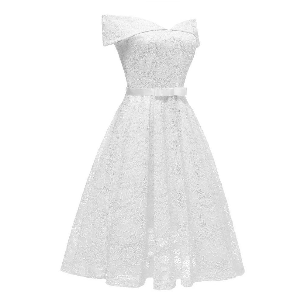 Affordable Lady'S Lace Dress with Bow Tie