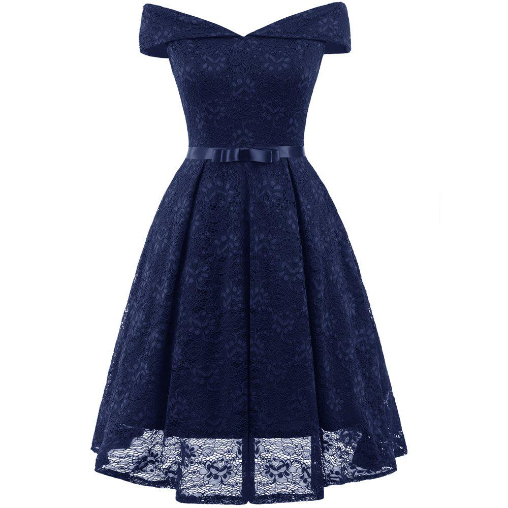 New Lady'S Lace Dress with Bow Tie