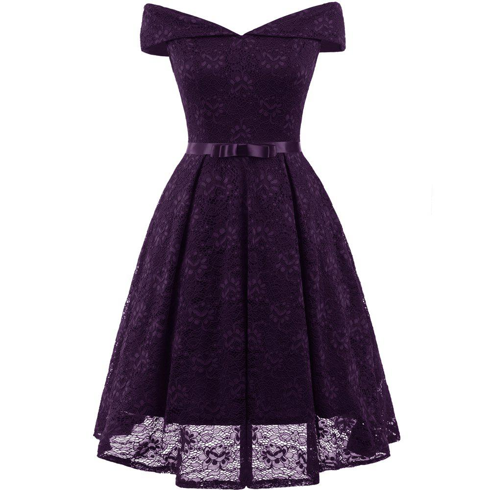 Discount Lady'S Lace Dress with Bow Tie