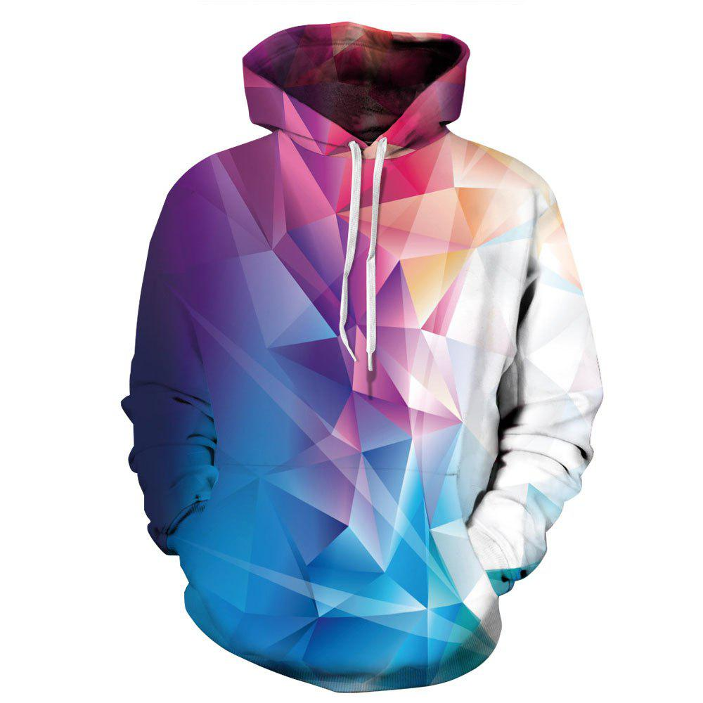 Colorful Geometric Digital Print Drawstring Long Sleeve Kangaroo Pocket Pullover Sweatshirt Men s 3D Graphic Hoodie
