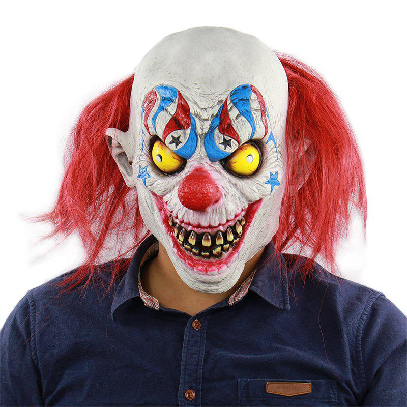 Helloween Masque De Clown Aux Cheveux Rouges Horrible